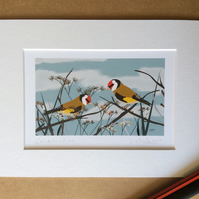 Goldfinches - print from digital illustration with mount. Garden birds.