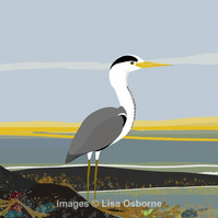 Heron - print from digital illustration of heron by the coast.