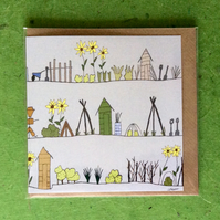 Greetings card - blank for own message - The allotments