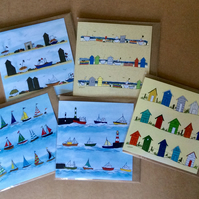 Pack of 5 greetings cards - blank inside - Beach huts. Boats.
