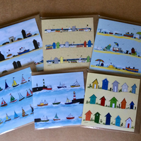 Pack of 6 greetings cards - blank inside - Beach huts, boats and the seaside.