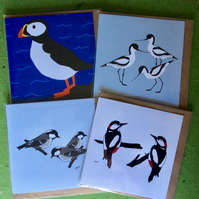 Pack of 4 greetings cards - blank for your own message - Birds