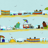 Day at the seaside. Signed print. Digital illustration. Beach. Coast