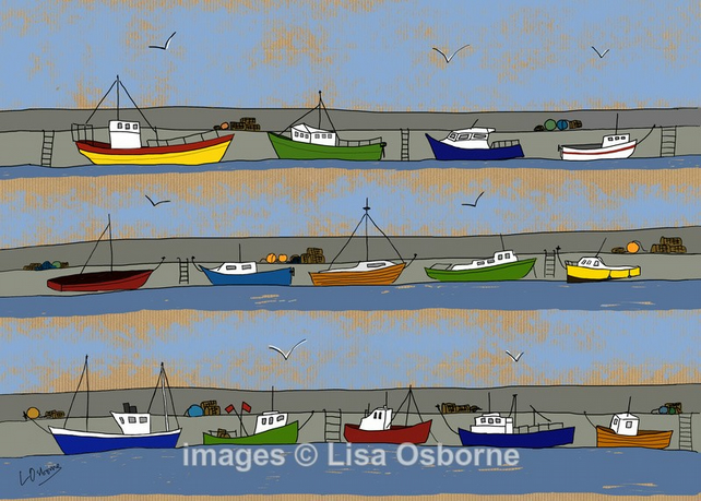 The Harbour. Signed print. Digital illustration. Boats. Sea. Fishing. Sailing