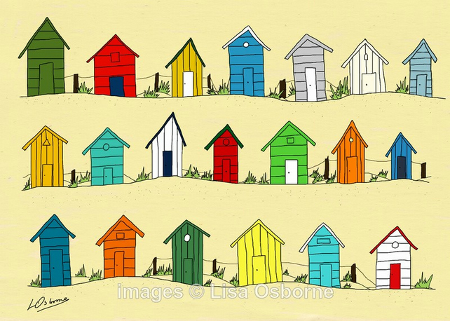 Beach Huts. Signed print. Digital illustration. Sea. Coast.