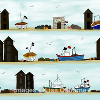 Fishing boats and huts. Signed print. Digital illustration. Coast. Sea