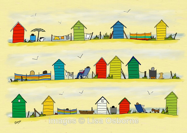 Beside the sea - signed print from illustration. Beach. Seaside. Beach huts