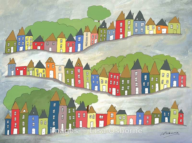 Hilly Streets - signed print from illustrations of houses