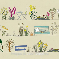 Country Garden - signed print from illustration. Flowers. Gardens.