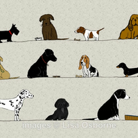 Dogs - print from digital illustration. Pets. Animals.