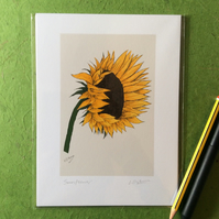 Sunflower. Signed print. Digital illustration. Flower. Gardening