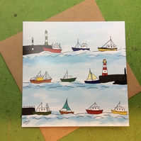 Greetings card - Heading home. Boats. Sea.
