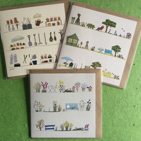 Pack of 3 greetings cards - Gardens. Gardening - Blank for your own message