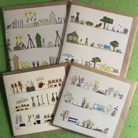 Pack of 4 greetings cards - gardens and gardening