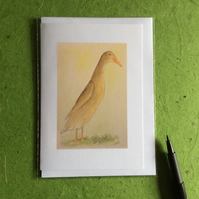 Brown runner duck - greetings card. Blank inside.