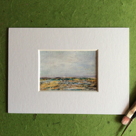 Across the marshes - original acrylic landscape painting. Miniature.