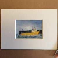 Fishing boat - original acrylic, miniature painting