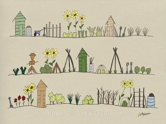 The Allotments. Signed print. Digital illustration. Gardening. Vegetable growing