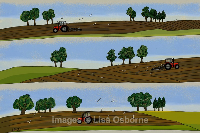 Ploughing - signed print from illustration. Farming. Tractors. Countryside.