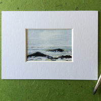 Rocky shore - original, miniature acrylic seascape