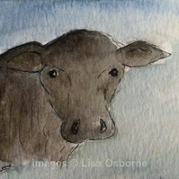 In the valley - Cow. Original miniature watercolour painting.