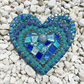 Turquoise Blue Hanging Heart Mosaic