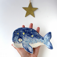 Whale and Stars Dish Handmade Ceramic Jewellery Dish-Spoon Rest Gift