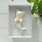 Mermaid Cat-Merkitty with Star Fish.Ceramic Brooch with gold plated safety pin.