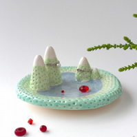 Misty Mountain Valley jewellery dish and ring holder. Handmade Ceramic.