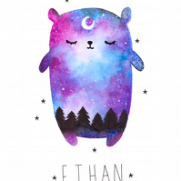 Galaxy Bear Print. Can be personalised with a name or date