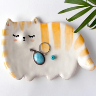 Ginger Tabby Cat Jewellery Dish,key holder. Handmade artistic ceramic.