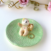 Sloth ring holder jewellery dish with flower decoration. Handmade ceramic.