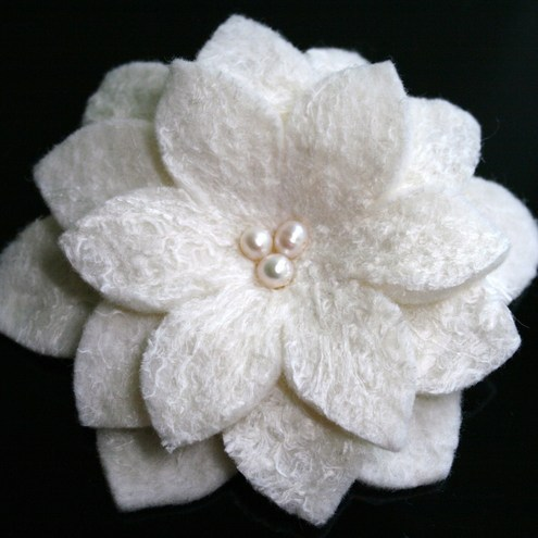 Handmade Felt Flower Pin -  Natural White