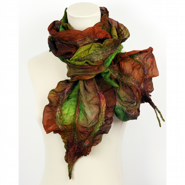 Nuno Felted Hand Dyed Silk Scarf - Shades of Brown and Green