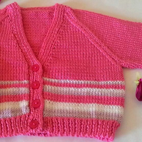 Pretty Raspberry pink Newborn Baby Girl cardigan with contrasting stripes