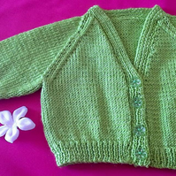 On trend Lime Green V-Neck Hand knitted baby cardigan - fits 0 to 3 months