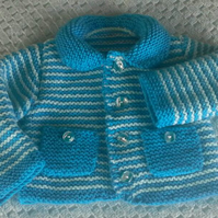 Cute Hand knitted Jacket in Kingfisher & Pale turquoise with Baby boy in mind.