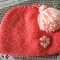 Cute Peachy Beanie Hat with Tassel & Daisy detail for 0 to 6 month baby