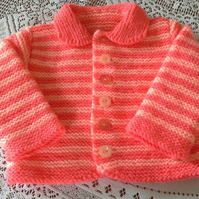 Warm & Cosy 2 tone Peach cardigan perfect for Winter fits 6-12 months baby girl.