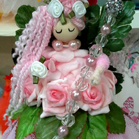 Stunning Rose Pink 10 inch Fairy with Crystal Orb