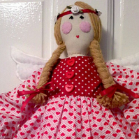 """Valentina""  I Love You rustic styled 60cm Fairy Rag Doll. A beautiful keepsake."