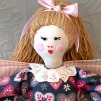 "Rustic vintage styled Keepsake Fairy Rag Doll ""Jessie"" with heart embelishment."