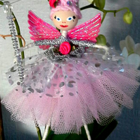 Rose Bud Ballerina Fairy in pale pink tutu with shimmery iridescent wings