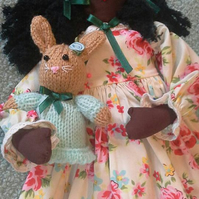 "Meet ""Lizzie"" Hand made rustic Rag Doll with a cute little Bunny Rabbit toy"