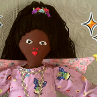 Suzie Star - Vintage style Fairy Rag Doll with starry wand and flowery wings.