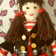 """Bonnie"" 40cm Retro style Pirate Rag doll. To decorate your home."