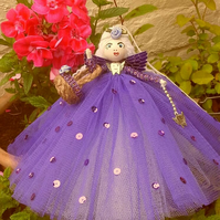 """Violet"" the Tooth Fairy with little basket and Tibetan silver charm ."