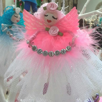 """I Believe in Fairies"". Adorable Fairy in tulle and Pink feather gown"