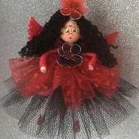 Gorgeous Fairy ornement in Black and sparkly red tulle gown.