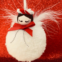 Snowball Fairy pom pom Christmas Tree decoration in traditional   while and red.